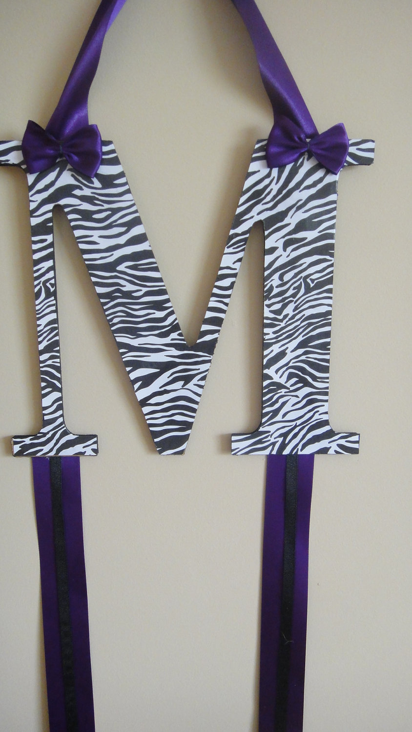 Personalized Bow Organizer Zebra and Purple