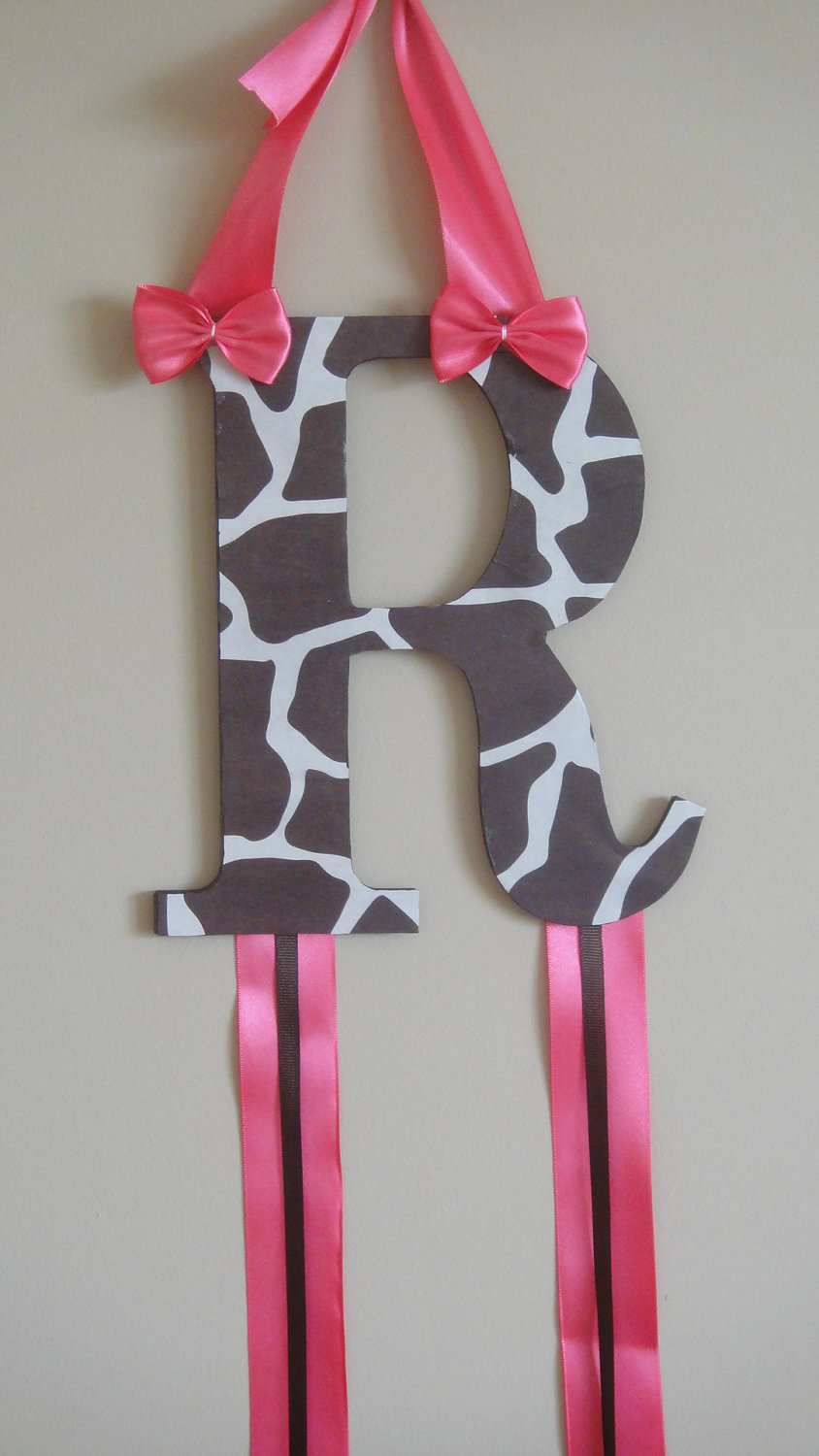 Personalized Bow Organizer Animal Print and Pink