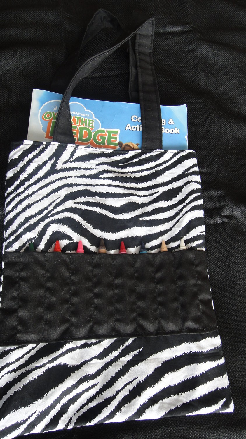 Crayon Tote with 8 Crayons in Zebra Print