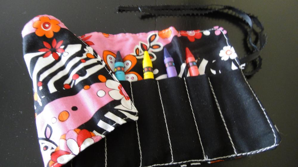 Funky Pink and Zebra Print Mini Crayon Keeper with 8 crayons, Perfect for Easter, Party Favors, Purse, Diaper bag, etc.